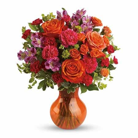 Cheap orange roses bouquet delivered today with other mixed orange flowers in vase