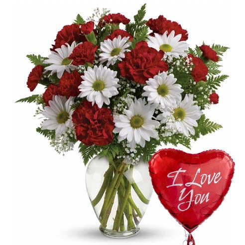 Valentine's Day I love you flower and balloon bouquet with red carnations and white daisies