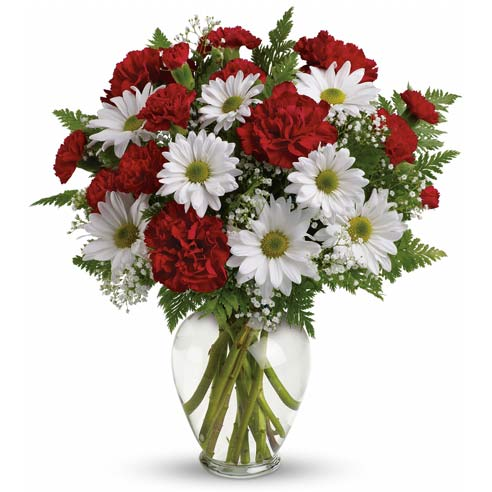 white daisy bouquet with red carnations in a glass vase for same day flower delivery