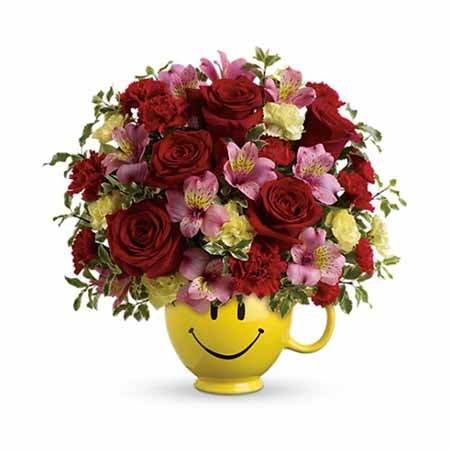 Free delivery flowers with smiley face coffee cup and cheap flowers
