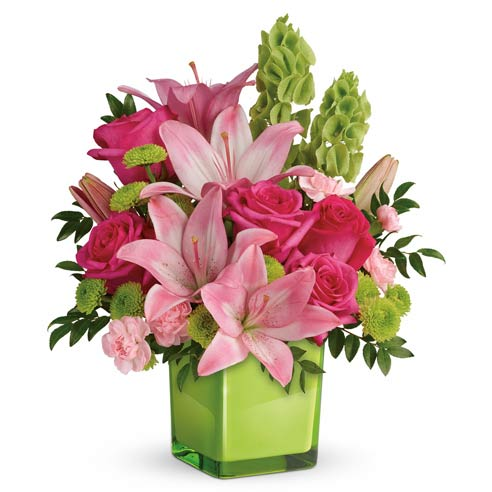 Mothers day spring bouquet with pink lily, pink roses and lime green vase