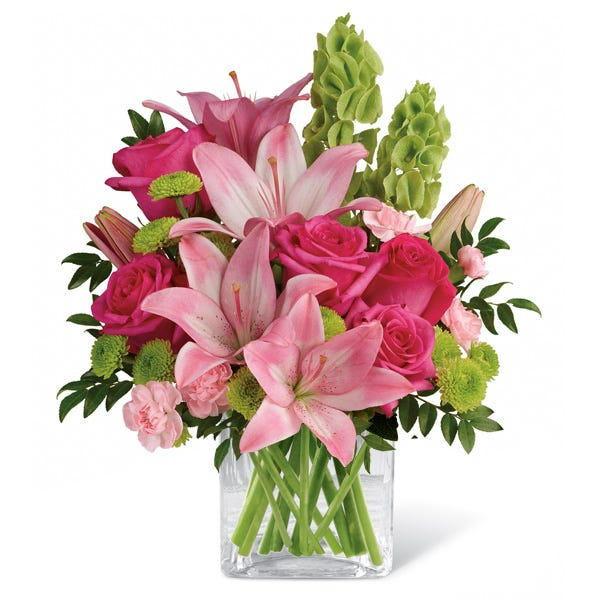 Pink asiatic lily delivery from send flowers in a neon green flower vase