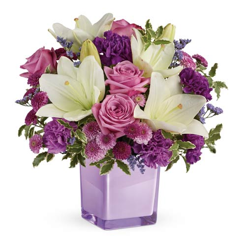 White lily bouquet with lavender roses, purple mums, for cheap purple flower bouquet delivery