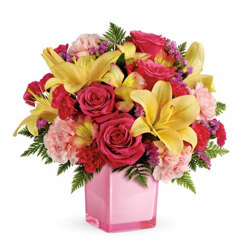 Pink rose same day delivery with yellow lilies and cheap flowers in glass vase
