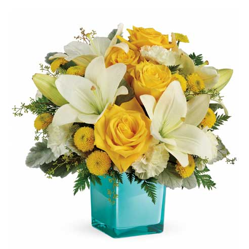 Spring flower delivery with yellow roses, white lilies, yellow mums and cheap flowers
