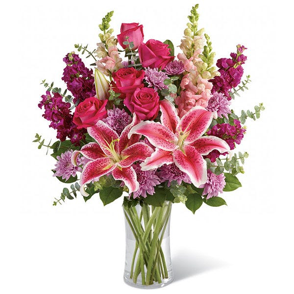 Pink stargazer lily delivery and pink rose and stargazer flower bouquet