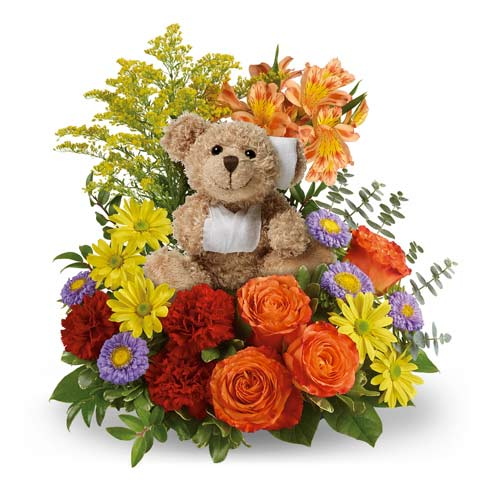 get well soon flower delivery with stuffed animal get well soon bear