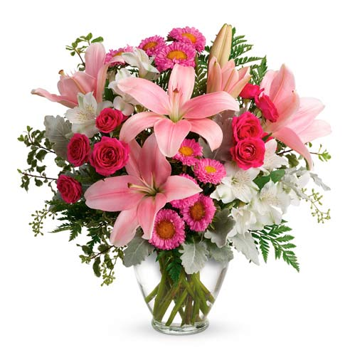 Mother's Day flowers delivery with pink lilies, hot pink roses and alstroemeria