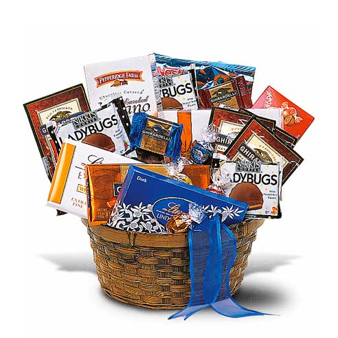 Gourmet chocolate gift basket with Ghiradelli chocolate bars and Lindt chocolate