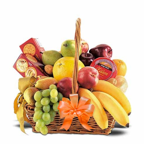 Fall fruits gift basket with orange bow, cheap fruit and cheese gift basket