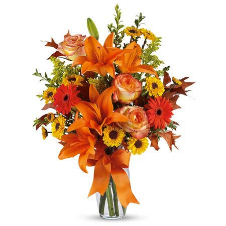 orange lily bouquet and fall flower delivery from send flowers usa