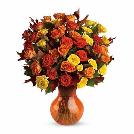 Fall orange rose flower bouquet with mini yellow roses and orange flower vase