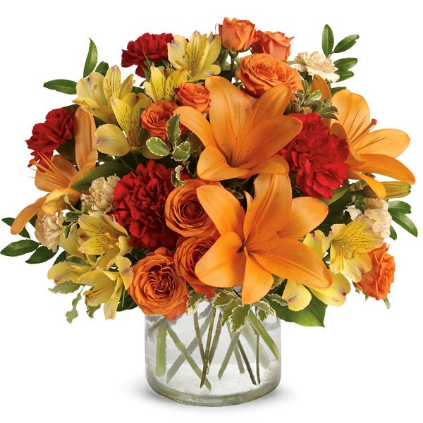 Orange lily and rose bouquet with yellow alstroemeria and orange carnations