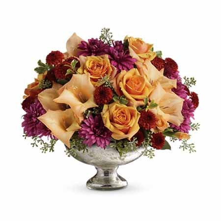 Peach rose centerpiece with cheap flowers, maroon mums, and lavender mums