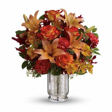 Orange carnations from sendflowers with orange lilies and free flowers delivery