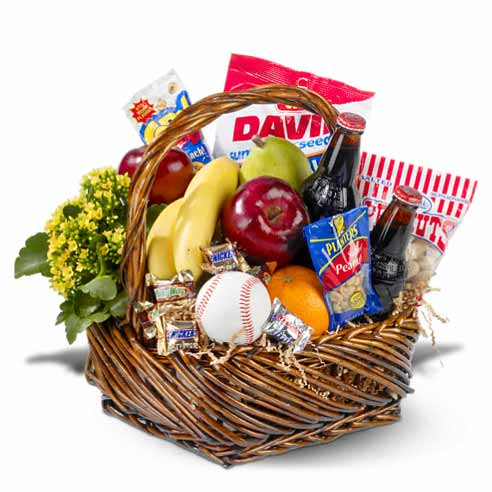 Delivered fruits and plant gift basket from send flowers online