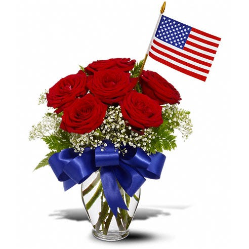 Patriotic flower delivery with a flag