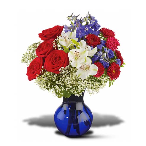Red white and blue flower bouquet 4th of July flower arrangement delivery