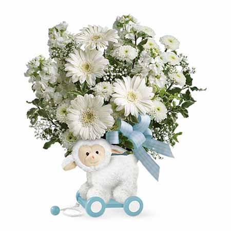 Easter gift ideas Easter baskets for babies white lamb toy with flowers for new baby