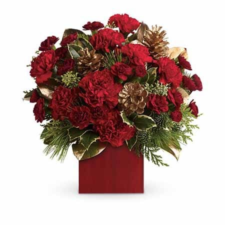 Red carnations, pink cones and holiday greens in a red square vase