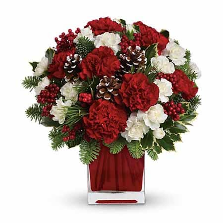 Red carnations, white mini carnations and pine cones in a red square vase
