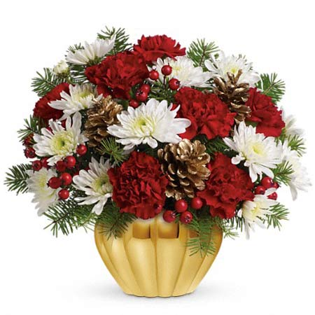 Christmas flowers delivered with red roses, white chrysanthemums, and red carnations