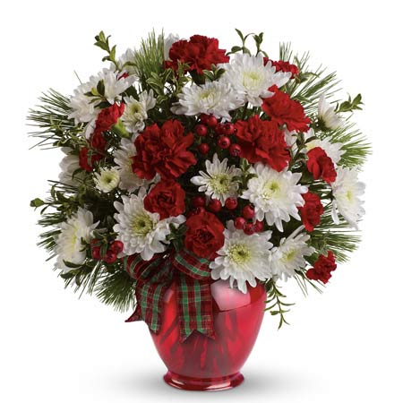 same day red carnation white chrysanthemum Christmas flower bouquet