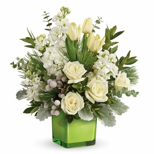 luxury contemporary white rose christmas bouquet in a contemporary christmas flowers arrangement