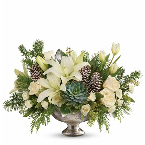 luxury contemporary white lily christmas centerpiece in a contemporary christmas flowers arrangement