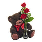 Bud Vase Roses with Bear