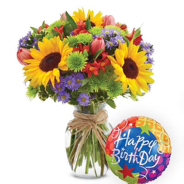 Sunflower Arrangement And Birthday Balloon