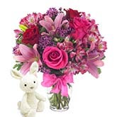Rose, Lily, Bunny, Oh My! Bouquet
