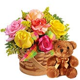 Bear And Rose Basket