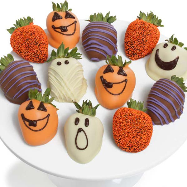 Chocolate Covered Halloween Strawberries - 12 Pieces