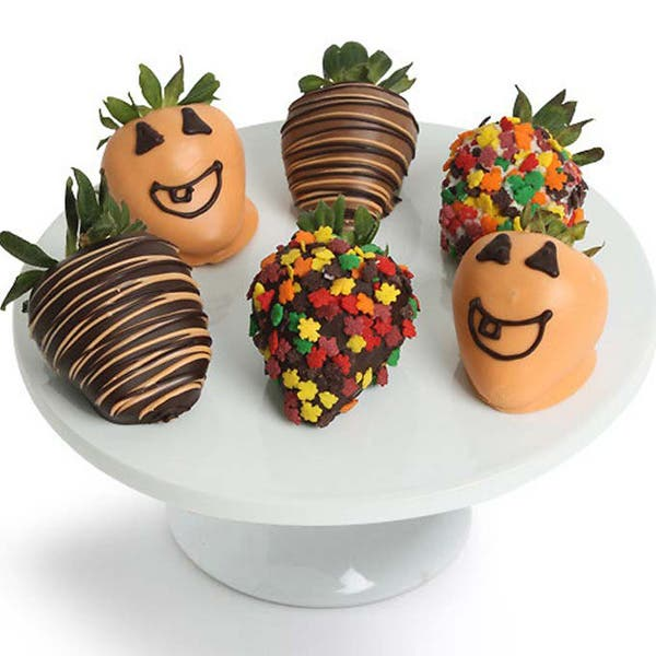Chocolate Covered Halloween Strawberries - 6 Pieces