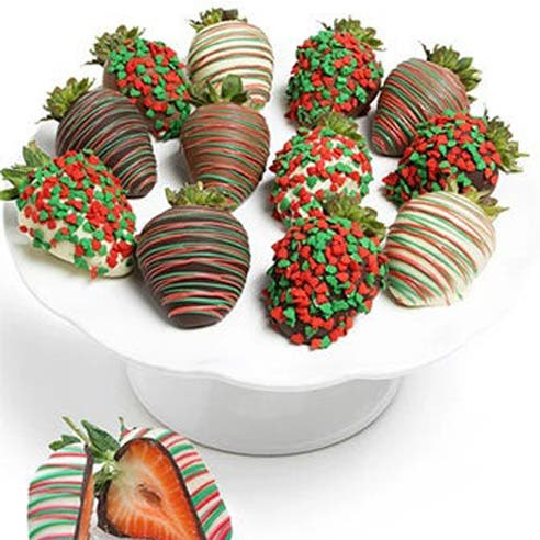 Christmas Chocolate Covered Strawberries (12 Pieces)