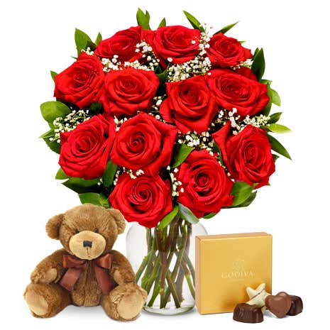 One Dozen Red Roses with Chocolates and Teddy Bear