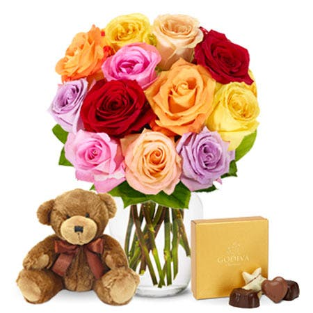 One Dozen Rainbow Roses with Chocolates and Teddy Bear