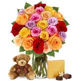 Two Dozen Rainbow Roses with Chocolates and Teddy Bear