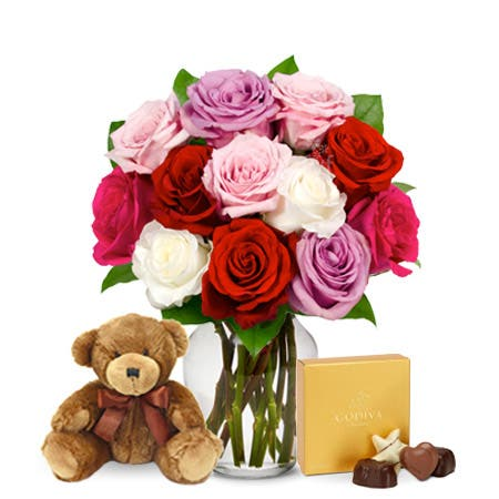 One Dozen Sweetheart Roses with Chocolates and Teddy Bear