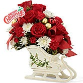 Santa's Sleigh Floral Bouquet with Holiday Pick