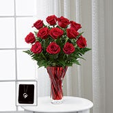The FTD® In Love with Red Roses™ Bouquet  with Jewelery