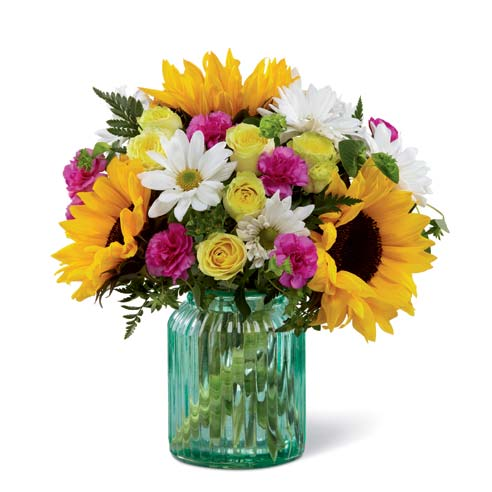 Mason Jar Inspired Sunflower Bouquet