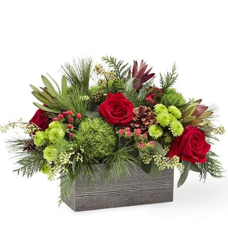 Wooden Winter Flower Box Bouquet