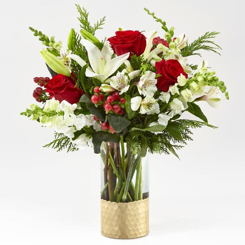 Mistletoe Rose and Lily Bouquet