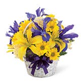 Yellow Lily Spring Basket Bouquet