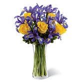 Yellow Roses And Purple Iris