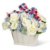 Patriotic Country Charm White Rose Bouquet