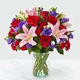 Vivid Joy Lily And Rose Bouquet