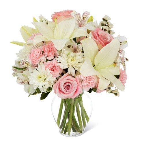 Pink Rose White Lily Bouquet